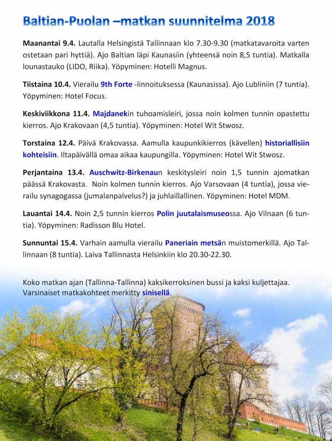 Baltian-Puolan –matkan suunnitelma 2018